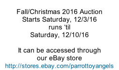 Fall/Christmas 2016 Auction Starts Saturday, 12/3/16 runs �til Saturday, 12/10/16  It can be accessed through our eBay store http://stores.ebay.com/parrottoyangels
